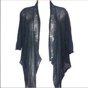 Free People Black Studded Sheer Cardigan Draped S
